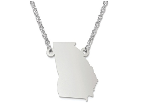 Sterling Silver Georgia Silhouette Center Station 18 inch Necklace