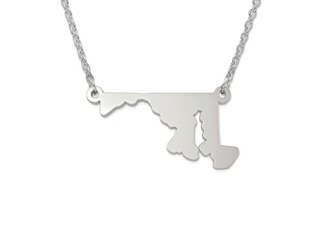 Sterling Silver Maryland Silhouette Center Station 18 inch Necklace