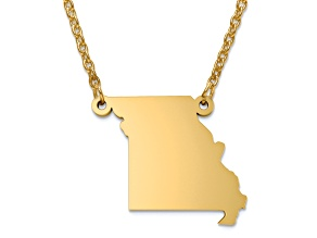 14k Yellow Gold Over Sterling Silver Missouri Silhouette Center Station 18 inch Necklace