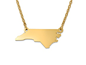 14k Yellow Gold Over Sterling Silver North Carolina Silhouette Center Station 18 inch Necklace