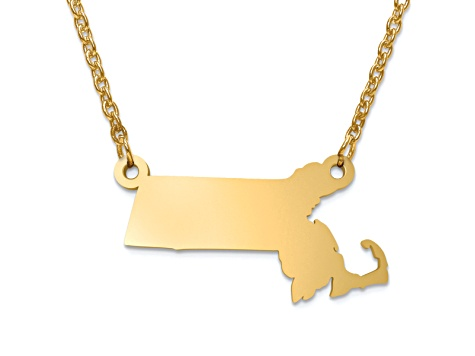 14k Yellow Gold Over Sterling Silver Massachusetts Silhouette Center Station 18 inch Necklace