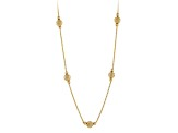 18k Yellow Gold Over Sterling Silver Bead Station Necklace 20 inch