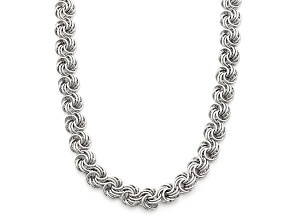 Rhodium Over Sterling Silver Rosetta Link Necklace 17 inch