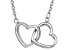 Rhodium Over Silver Heart Necklace 18 inch