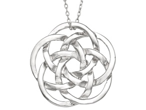 Rhodium Over Silver Celtic Knot Pendant 18 inch