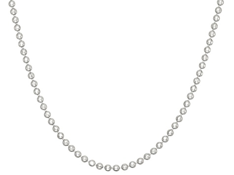 Rhodium Over Sterling Silver Bead Link 24 inch