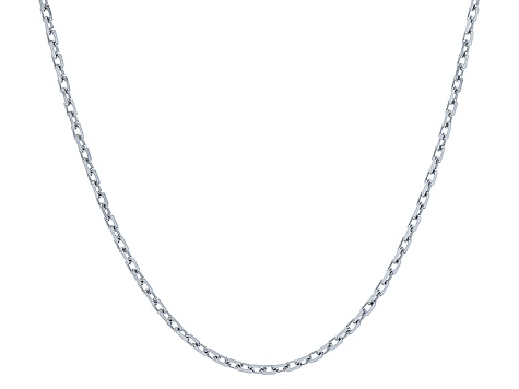Rhodium Over Silver Cable Link Chain Necklace 20 inch