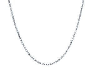 Rhodium Over Silver Cable Link Chian Necklace 24 inch