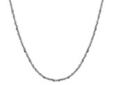 Rhodium Over Silver Criss Cross Link Chain Necklace 20 inch