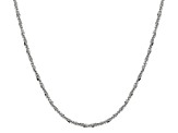 Rhodium Over Silver Criss Cross Link Chain Necklace 24 inch