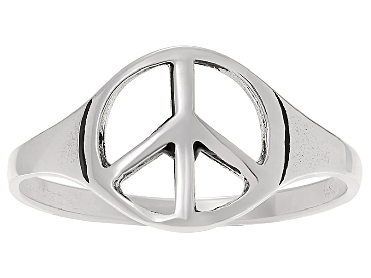 Sterling Silver Peace Sign Ring Csw091 Jtv