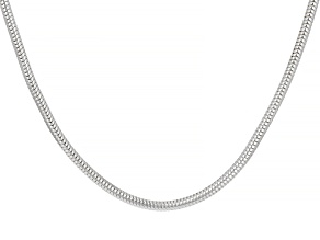 Rhodium Over Silver Snake Link Sliding Adjustable Chain Necklace 22 inch