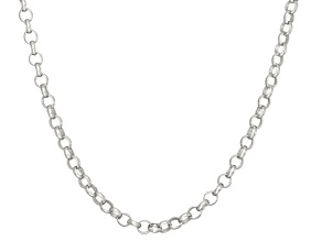 Rhodium Over Sterling Silver Rolo Link Chain Necklace 18 inch