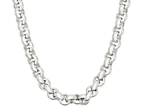 Rhodium Over Sterling Silver Rolo Link Chain Necklace 18 inch 4mm