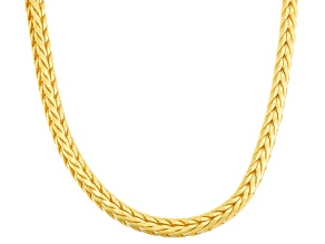 14k Yellow Gold Over Sterling Silver Wheat Link Chain Necklace 18 inch 4mm