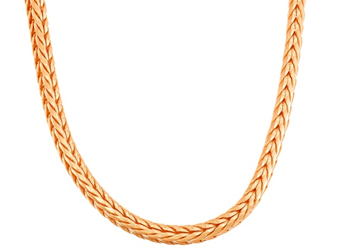 14k Rose Gold Over Sterling Silver Wheat Link Chain Necklace 18 inch 4mm