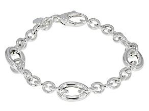 Sterling Silver Pear Station Link Bracelet 7.5 inch