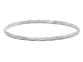 Rhodium Over Sterling Silver Twisted Bangle Bracelet 8 inch