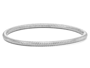 Rhodium Over Sterling Silver Diamond Cut Bangle Bracelet 8 inch