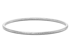 Rhodium Over Sterling Silver Textured Twist Bangle Bracelet 8 inch