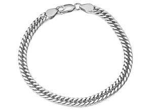 Rhodium Over Sterling Silver Double Curb Link Bracelet 8.5 inch