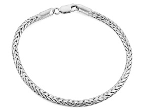 Rhodium Over Sterling Silver Square Wheat Link Bracelet 7.5 inch