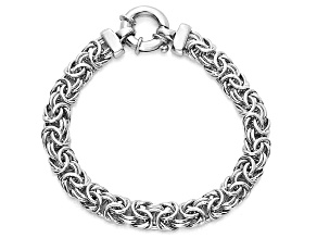 Rhodium Over Sterling Silver Flat Byzantine Link Bracelet 7.5 inch 8mm