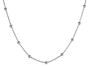 Sterling Silver Diamond Cut Bead Stations Bead Link Necklace 24 inch