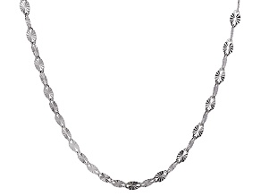 Sterling Silver Diamond Cut Sole Link Chain Necklace 20 inch 4.5mm