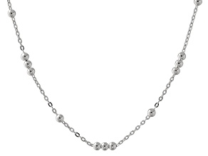 Sterling Silver Bead Stations Cable Link Necklace 18 inch