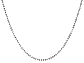 Sterling Silver Diamond Cut Bead Link Chain Necklace 20 inch