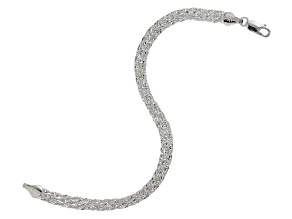 Sterling Silver Multi-Strand Singapore Link Bracelet 7.25 inch