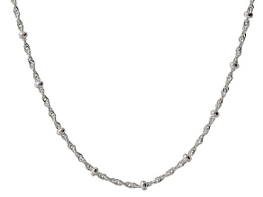 Sterling Silver Bead Stations Singapore Link Necklace 19.75 inch