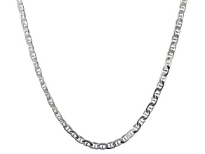 Sterling Silver Flat Mariner Link Chain Necklace