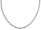 Sterling Silver Figaro Link Chain Necklace 24 inch 3.5mm