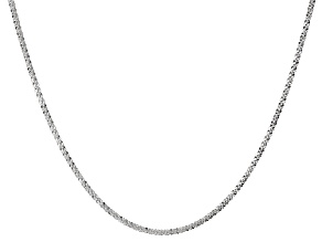 Sterling Silver Criss Cross Link Chain Necklace 24 inch 2mm