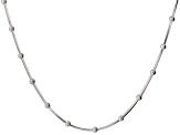Sterling Silver Bead Stations Square Snake Link Necklace 18 inch