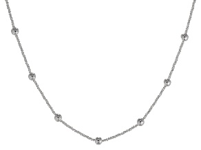 Sterling Silver Bead Stations Criss Cross Link Necklace 18 inch