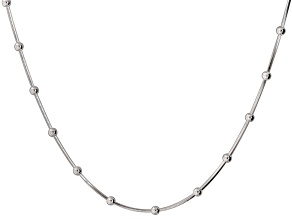 Sterling Silver Bead Stations Square Link Snake Necklace 16 inch