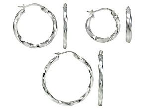 Sterling Silver Twisted Tube Hoop Earrings Set Of Three