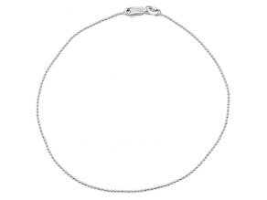 Rhodium Over Sterling Silver Bead Link Anklet 10 inch