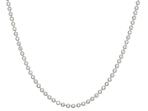 Rhodium Over Sterling Silver Bead Link Chain Necklace 16 inch