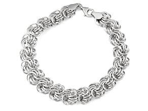 Rhodium Over Sterling Silver Rosetta Link Bracelet 7.5 inch