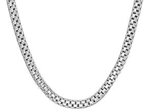 Rhodium Over Sterling Silver Popcorn Link Chain Neckalce 16 inch