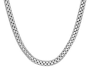 Rhodium Over Sterling Silver Popcorn Link Chain Neckalce 24 inch