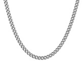 Rhodium Over Sterling Silver Curb Link Chain Neckalce 18 inch