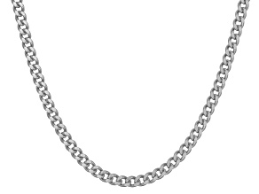 Rhodium Over Sterling Silver Curb Link Chain Neckalce 20 inch