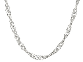 Rhodium Over Sterling Silver Singapore Link Chain Neckalce 18 inch