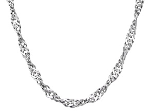 Rhodium Over Sterling Silver Singapore Link Chain Necklace 16 inch 3mm