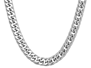 Rhodium Over Sterling Silver Curb Link Chain Necklace 24 inch 4.5mm